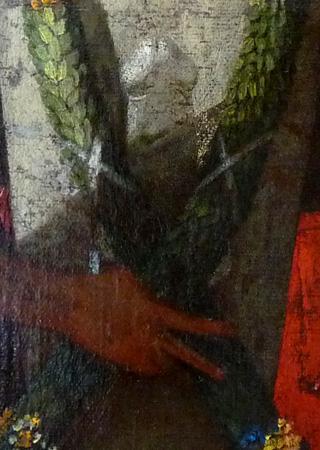 """Detalhe do quadro """"Himeneu travestido durante sacrifício a Príapo"""" que mostra o pênis da divindade homenageada; o detalhe foi revelado por restauração da obra que deve ser concluída em setembro"""
